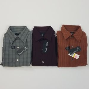Lot of 3 New Van Heusen Dress Shirts Med 15-15.5
